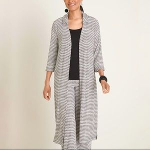 Chicos Travelers Graphic Printed Duster Jacket M